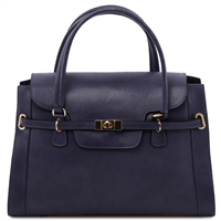 Tuscany Leather TL14230 NeoClassic Genuine Leather Handbag - Dark Blue