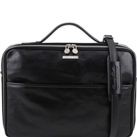 Tuscany Leather TL141240 Vicenza Laptop Briefcase - Black