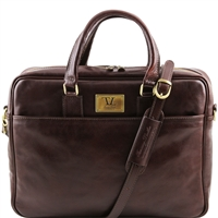 Tuscany Leather TL141241 Urbino Laptop Bag - Dark Brown