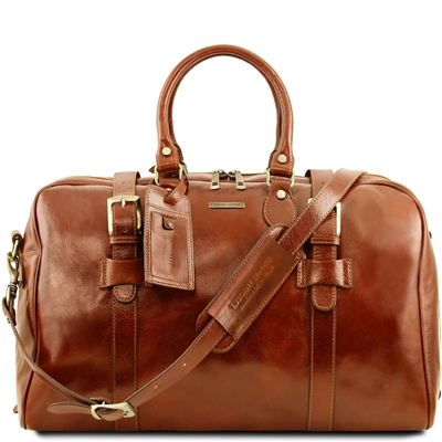 TL141248 Voyager Large Leather Duffel Bag by Tuscany Leather | Duffel Bags Australia