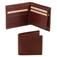 TL141353 Exclusive Leather 3 Fold Wallet for Men - Brown