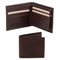 TL141353 Exclusive Leather 3 Fold Wallet for Men - Dark Brown