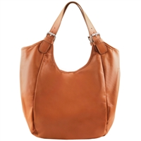 Tuscany Leather TL141537 Gina Leather Hobo Bag - Cognac