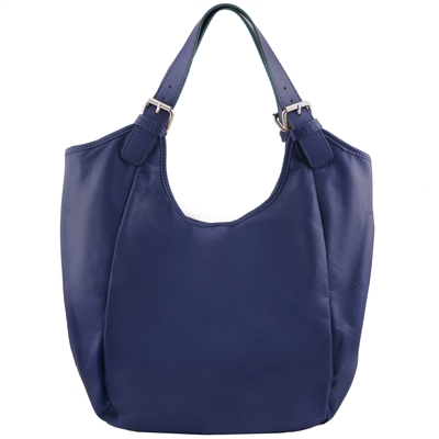 Tuscany Leather TL141537 Gina Leather Hobo Bag - Blue
