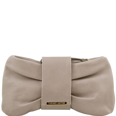 Tuscany Leather TL141358 Priscilla Clutch - Light Grey