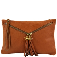 Tuscany Leather TL141359 Audrey Clutch - Cognac