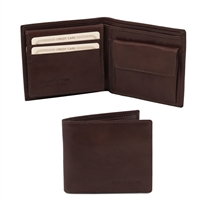 Tuscany Leather  TL141377 Leather Wallet for Men - Dark Brown