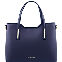 Olimpia Leather Tote - Dark Blue | Tuscany Leather Handbags Australia
