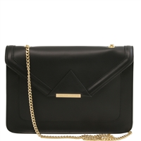 Tuscany Leather Iride Black Leather Clutch Bag - Black | Women's Clutches Australia