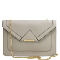 Tuscany Leather TL141417 Iride Ruga Leather Clutch - Light Grey