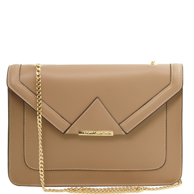 Tuscany Leather TL141417 Iride Leather Clutch Bag - Light Taupe | Leather Bags Australia