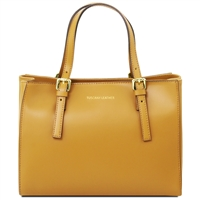 TL141434 Aura Leather Handbag - Mustard by Tuscany Leather | Handbags Australia