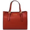 Aura Ruga Leather Handbag - Dark Red