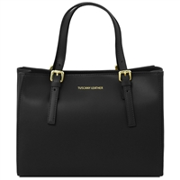 TL141434 Aura Black Leather Handbag - Tuscany Leather Handbag | Australia
