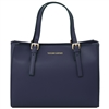 Aura Ruga Leather Handbag - Dark Blue