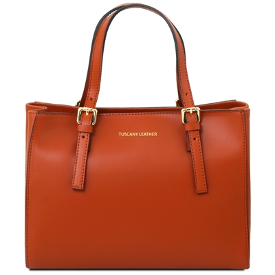 Tuscany Leather TL141434 Aura Leather Handbag - Brandy