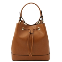 Tuscany Leather TL141436 Saffiano Leather Secchiello Bag - Cognac