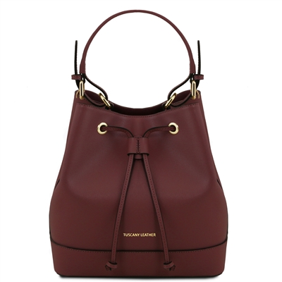 Tuscany Leather TL141436 Saffiano Leather Bucket Bag - Bordeaux