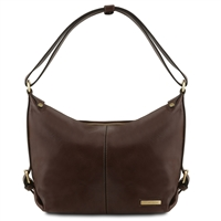TL141479 Tuscany Leather Sabrina Leather Hobo Bag - Dark Brown