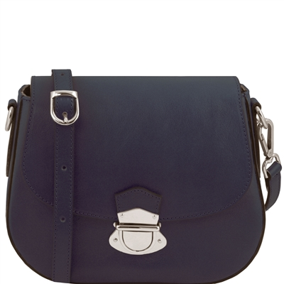 Tuscany Leather TL141517 Neoclassic Women's Shoulder Bag- Dark Blue | Shop Australia