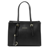 TL Saffiano Leather Handbag - Black