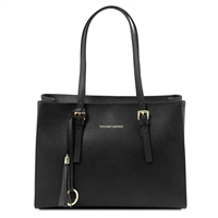 TL141518 Tuscany Leather Saffiano Leather Handbag - Black