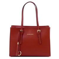 Tuscany Leather TL141518 Saffiano Leather Handbag - Red
