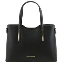 Olimpia Black Leather Handbag - Small by Tuscany Leather | Handbags Australia