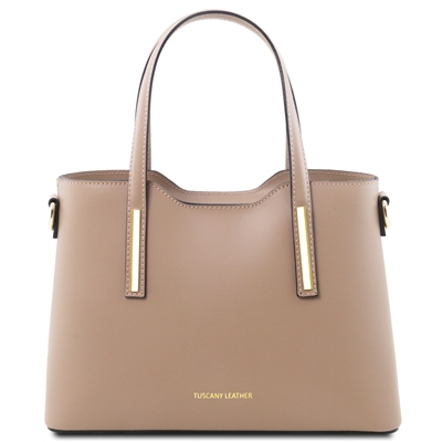 Tuscany Leather TL141521 Olimpia Handbag - Small - Taupe