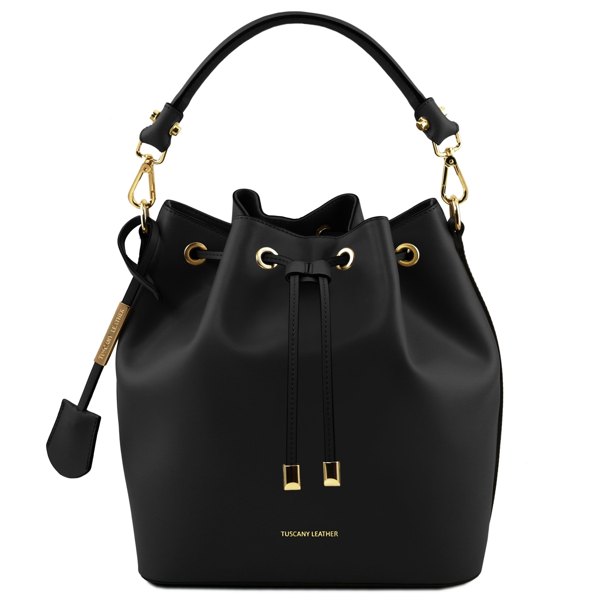 Vittoria Leather Bucket Bag Black
