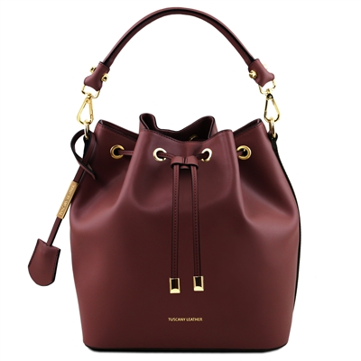 Tuscany Leather TL141531 Ruga Leather Bucket Bag - Bordeaux  | Women's | Bags | Australia