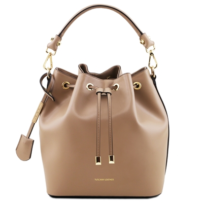 Tuscany Leather TL141531 Ruga Leather Bucket Bag - Dark Taupe