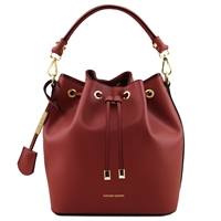 Tuscany Leather TL141531 Ruga Leather Bucket Bag - Red