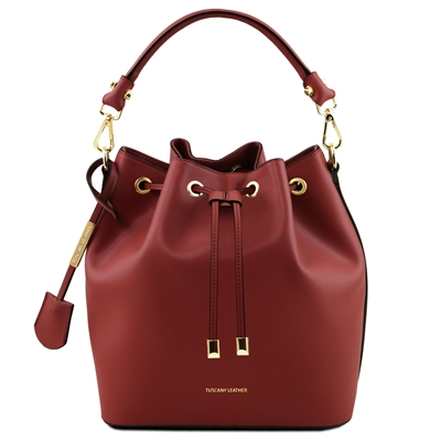 Tuscany Leather TL141531 Red Leather Bucket Bag | Leather Bags Australia