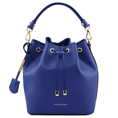 Tuscany Leather TL141531 Ruga Leather Bucket Bag - Blue