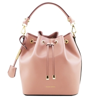 Tuscany Leather TL141531 Vittoria Leather Bucket Bag - Ballet Pink | Women's | Bags | Australia
