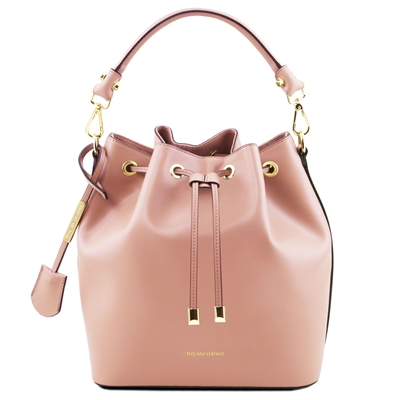 Tuscany Leather TL141531 Ruga Leather Bucket Bag - Nude
