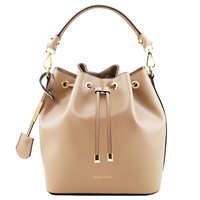 Tuscany Leather TL141531 Vittoria Leather Bucket Bag - Champagne | Women's | Bags | Australia
