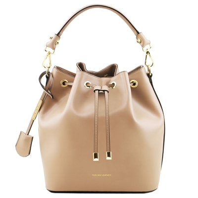 Vittoria Leather Bucket Bag - Champagne | Women's | Leather Bags | Australia