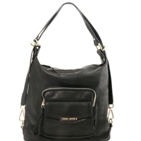 TL141535 Convertible Leather Bag - Black  | Tuscany Leather | Women's | Bags | Australia
