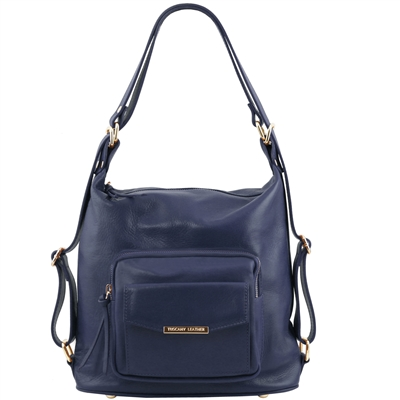 TL141535 Convertible Leather Bag - Dark Blue