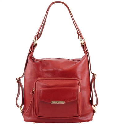 TL141535 Tuscany Leather Women's Convertible Red Leather Bag | Shop | Australia