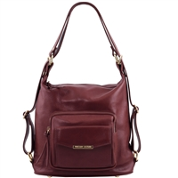 TL141535 Tuscany Leather Women's Convertible Leather Bag Bordeaux | Shop | Australia