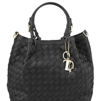 Tuscany Leather TL141540 TL Keyluck Handwoven Leather Tote Black