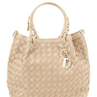 Tuscany Leather TL141450 TL Keyluck Handwoven Leather Tote Beige