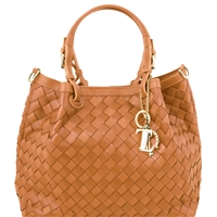 Tuscany Leather TL141450 TL Keyluck Handwoven Leather Tote Cognac