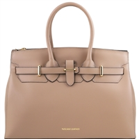 Tuscany Leather TL141548 Elettra Leather Handbag - Taupe