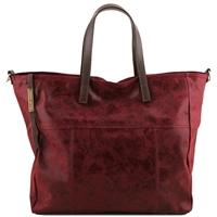 TL141552 Tuscany Leather Annie TL Smart Shopper Bag - Bordeaux | Leather Bags | Australia