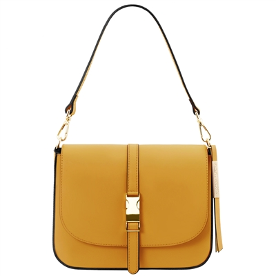 Tuscany Leather TL141598 Nausica Leather Shoulder Bag Mustard | Australia