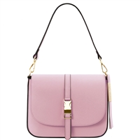 Tuscany Leather TL141598 Nausica Ruga Leather Shoulder Bag Lilac